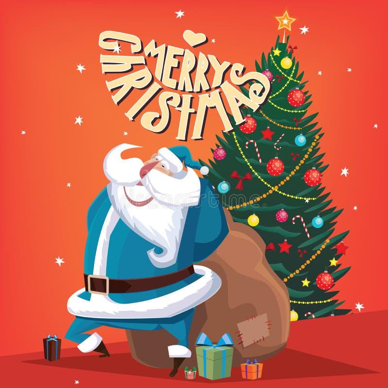 Joyeux Noël Santa Claus avec le sapin illustration de vecteur