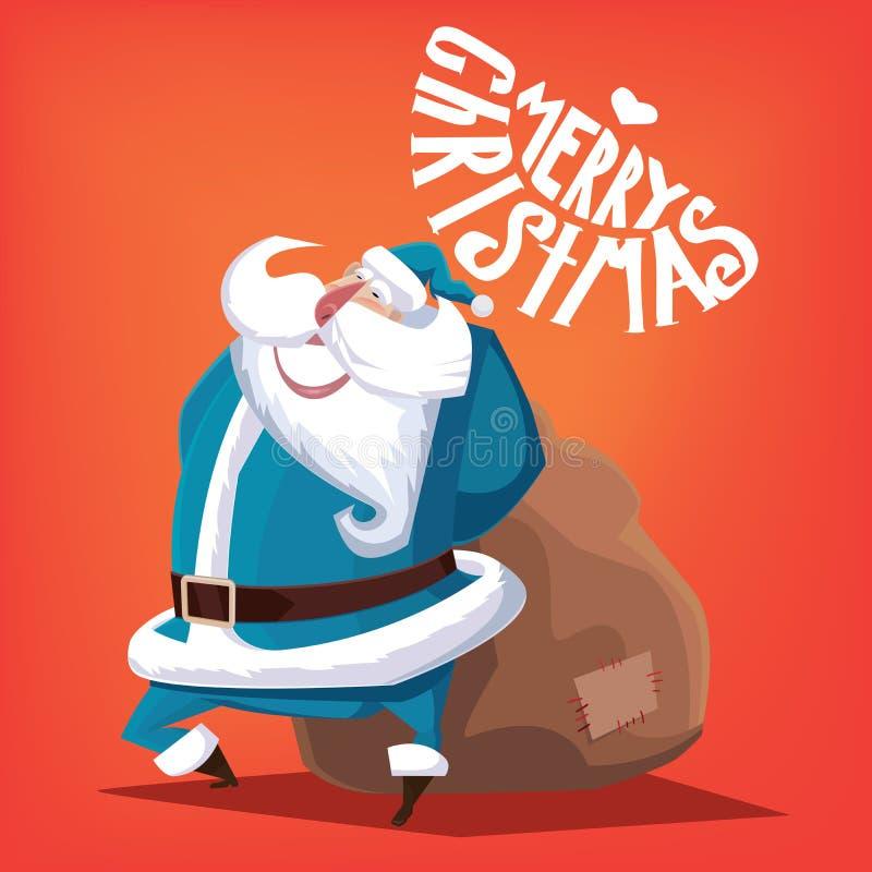Joyeux Noël Santa Claus bleue avec le sac de cadeau illustration de vecteur