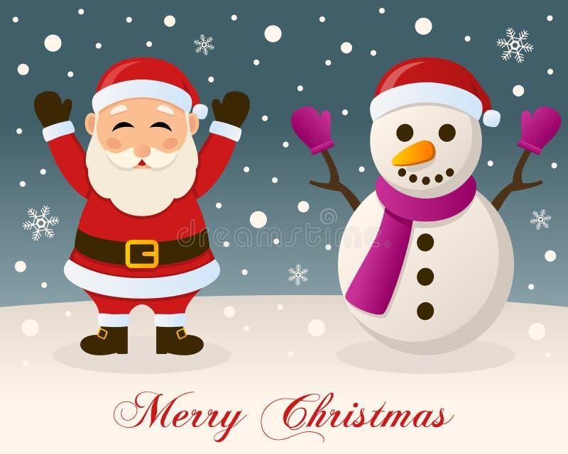 Joyeux Noël - Santa Claus et bonhomme de neige illustration de vecteur