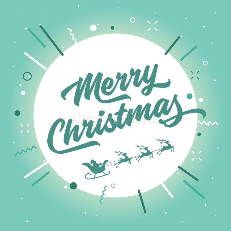 Joyeux Noël Santa Claus et renne dans la lune illustration de vecteur