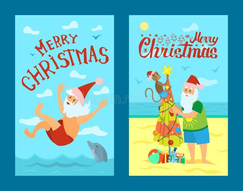 Joyeux Noël, Santa Claus et singe, bain de mer illustration libre de droits