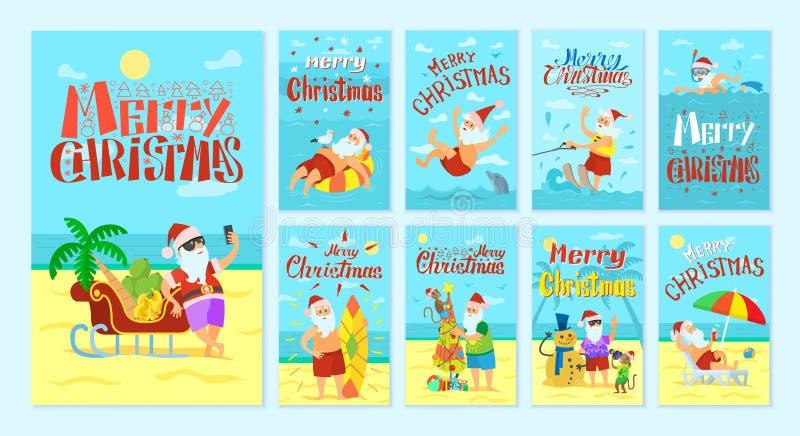 Joyeux Noël Santa Claus Resting sur des îles illustration libre de droits