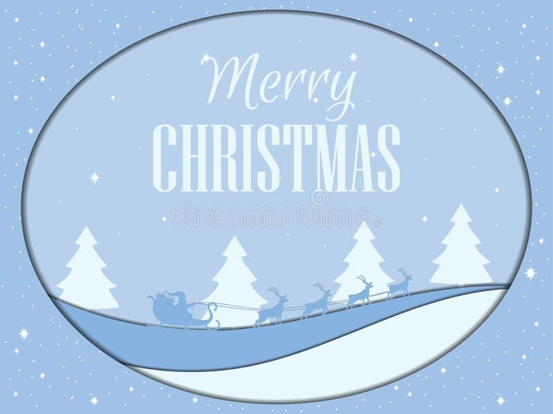 Joyeux Noël Santa Claus vole dans un traîneau avec des cerfs communs, style de papercut Horizontal de l'hiver Illustration des co illustration stock