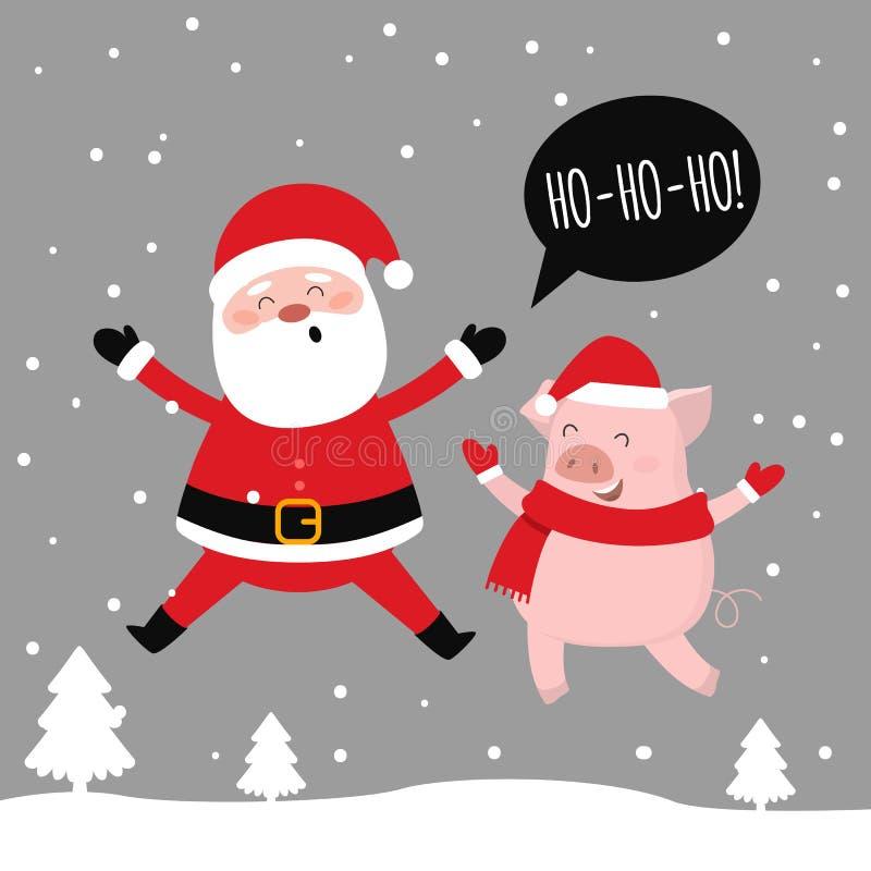 Joyeux Noël Santa et porc ayant l'amusement ensemble HO-HO-HO Vecteur illustration libre de droits