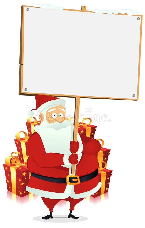 Joyeux Noël : Signe en bois de fixation du père noël illustration libre de droits