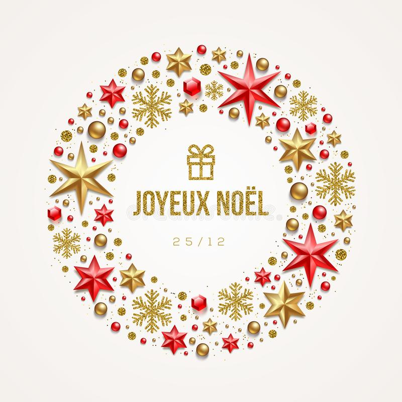 Free Joyeux Noël - Christmas Greetings In French. Frame In The Form Of Christmas Wreath Made From Stars, Ruby Gems, Golden Snowflakes Stock Photography - 132830722