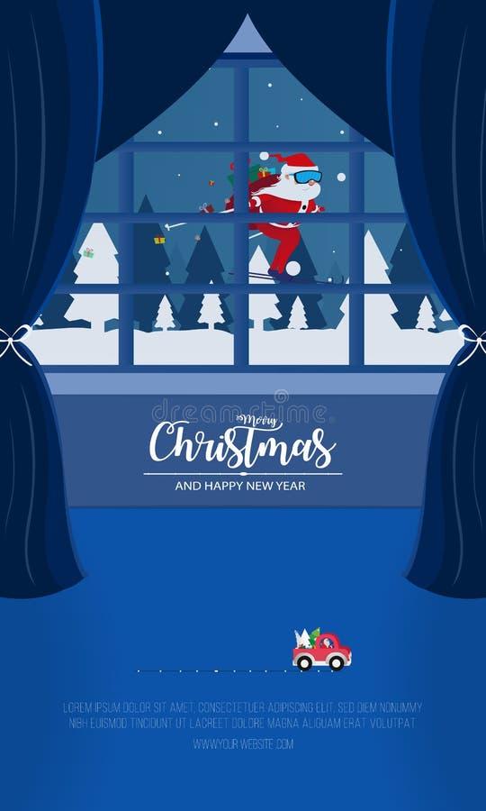 Joyeux No?l et bonne ann?e Vue de fenêtre de Noël avec le vol de Santa Claus au-dessus des collines fond, art de neige de papier  illustration de vecteur