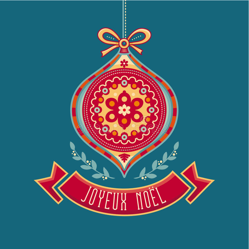 Joyeux Noel 节日快乐 法国人圣诞快乐卡片 皇族释放例证