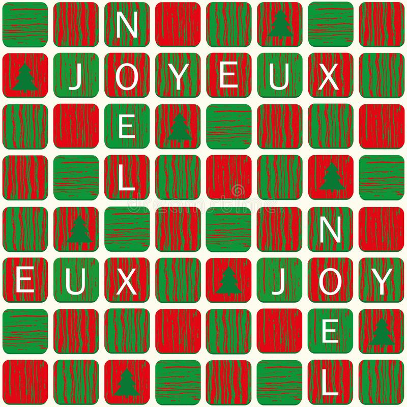 Joyeux noel christmas design with lettered tiles in red and green with wood texture and christmas trees. Seamless vector stock illustration