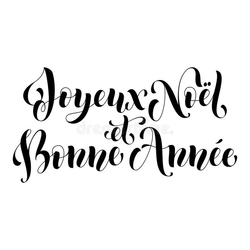 Joyeux Noel, französische Grußkarte Bonne Annee, Plakat vektor abbildung