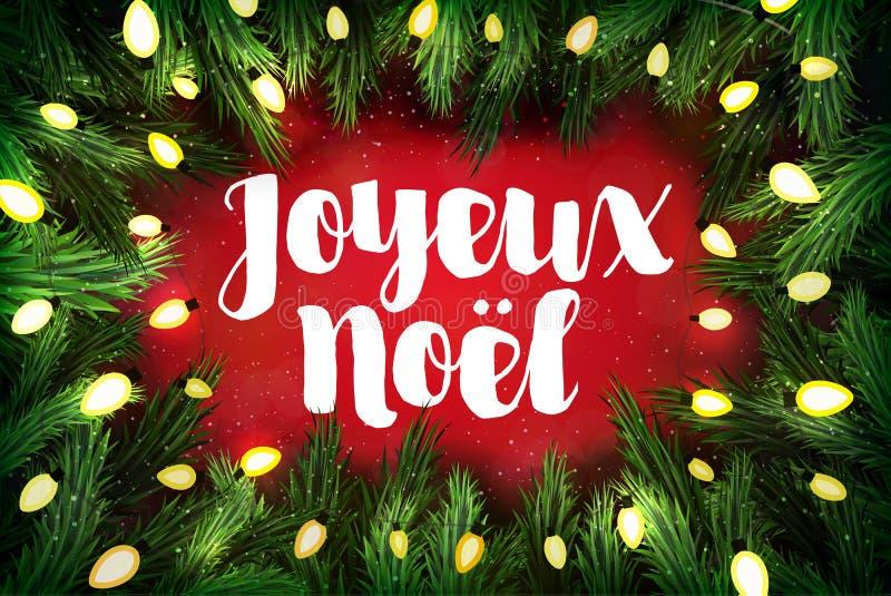 Joyeux Noel French für frohe Weihnacht-Weihnachtsgrußkarte stock abbildung