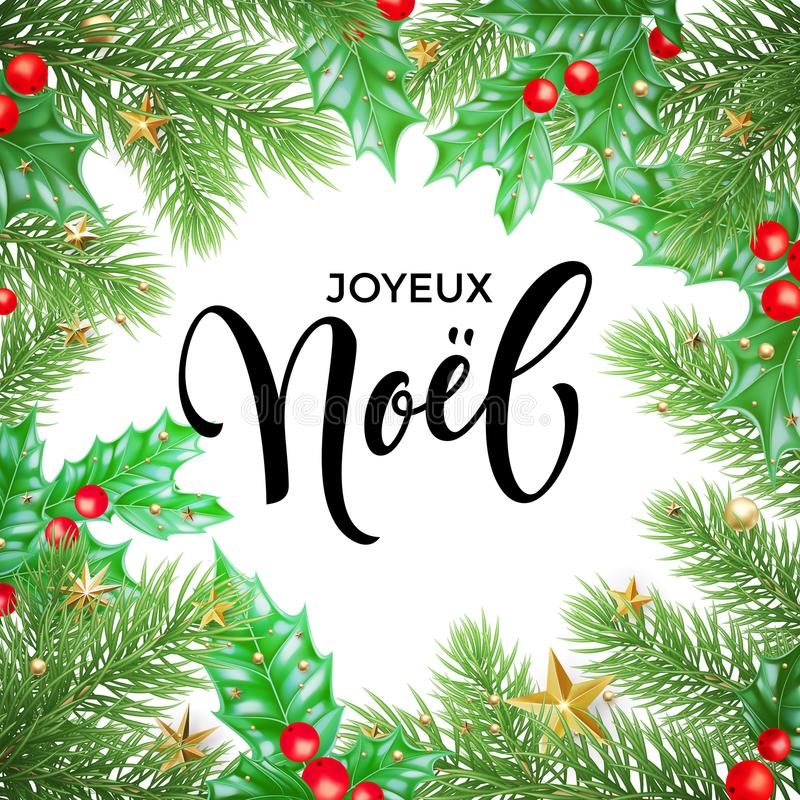 Free Joyeux Noel French Merry Christmas Holiday Hand Drawn Calligraphy Text Greeting And Holly Wreath Decoration For Card Design Templa Royalty Free Stock Photos - 104242858
