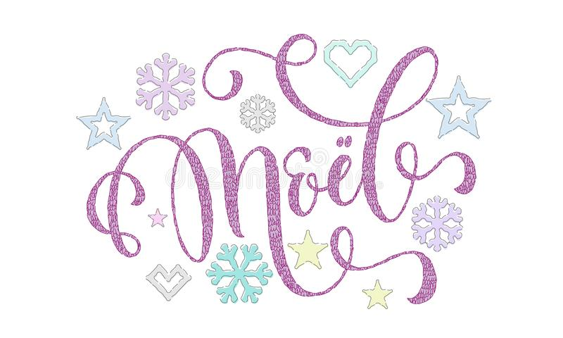 Joyeux Noel French Merry Christmas strickte Kalligraphieguß und -dekoration für Feiertagsgruß-Kartendesign Vector Weihnachtsrotwi vektor abbildung