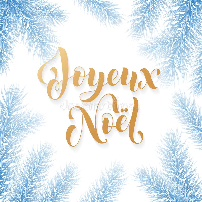 Free Joyeux Noel French Merry Christmas Trendy Golden Quote Calligraphy And Fir Branch Wreath On White Frozen Blue Snow Background For Royalty Free Stock Image - 104380416