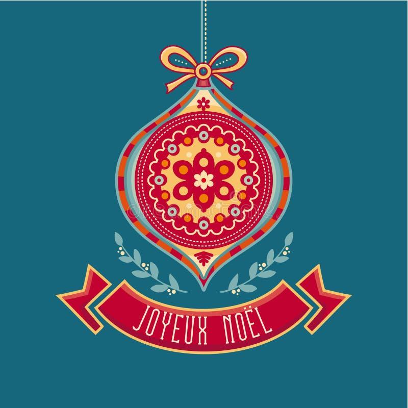Joyeux Noel Frohe Feiertage Französische Karte der frohen Weihnachten lizenzfreie abbildung