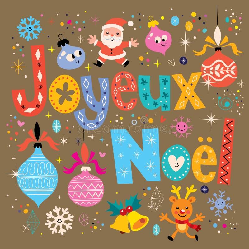 Joyeux Noel - frohe Weihnachten in der französischen Grußkarte stock abbildung