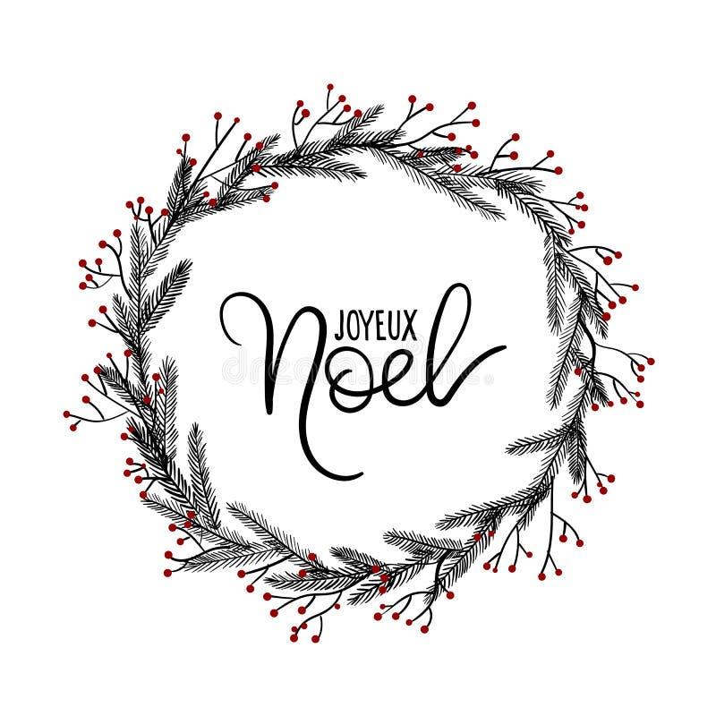 Joyeux noel hand lettering greeting card christmas wreath - Joyeux noel noir et blanc ...