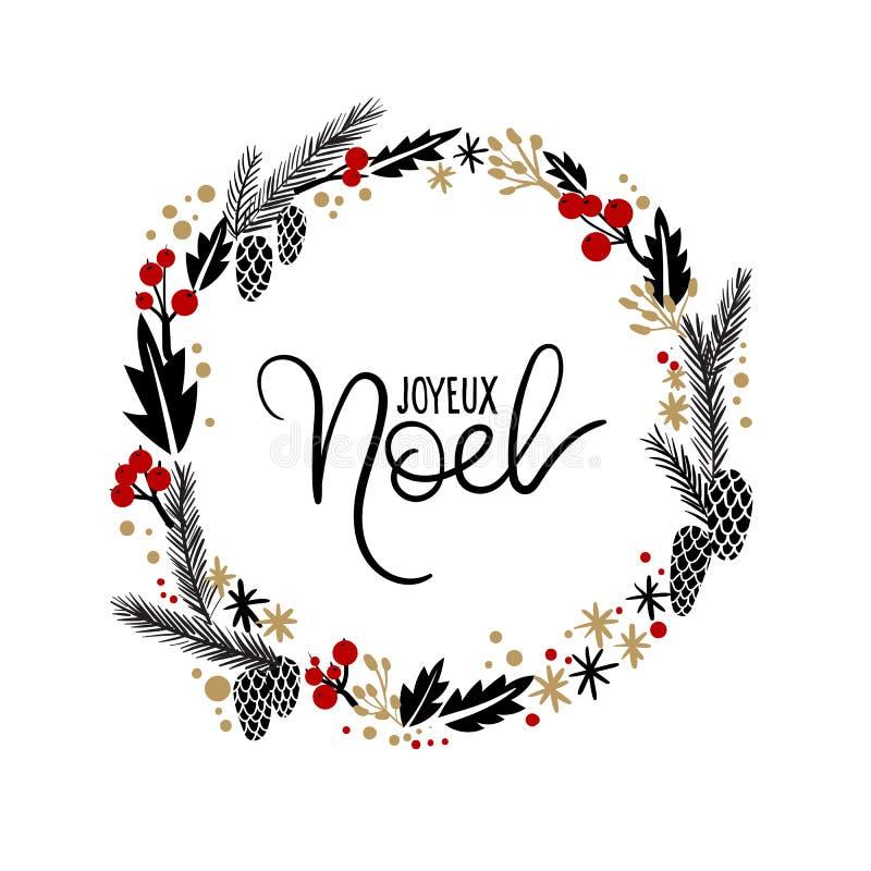 Joyeux noel hand lettering greeting card guirlande de no l illustration de vecteur - Guirlande joyeux noel ...