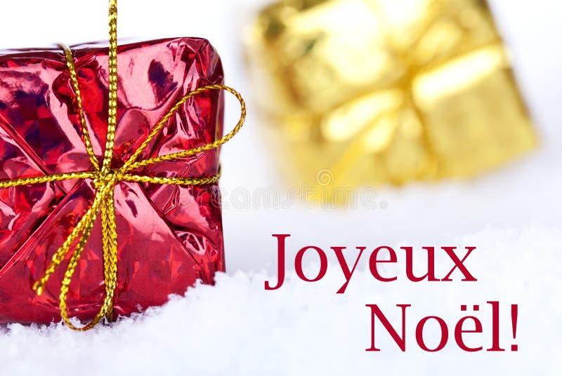 Joyeux Noel i snön royaltyfri bild