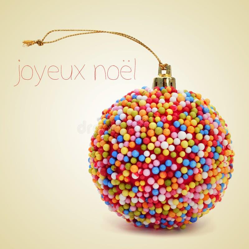 Joyeux noel, wesoło boże narodzenia w francuskim fotografia stock