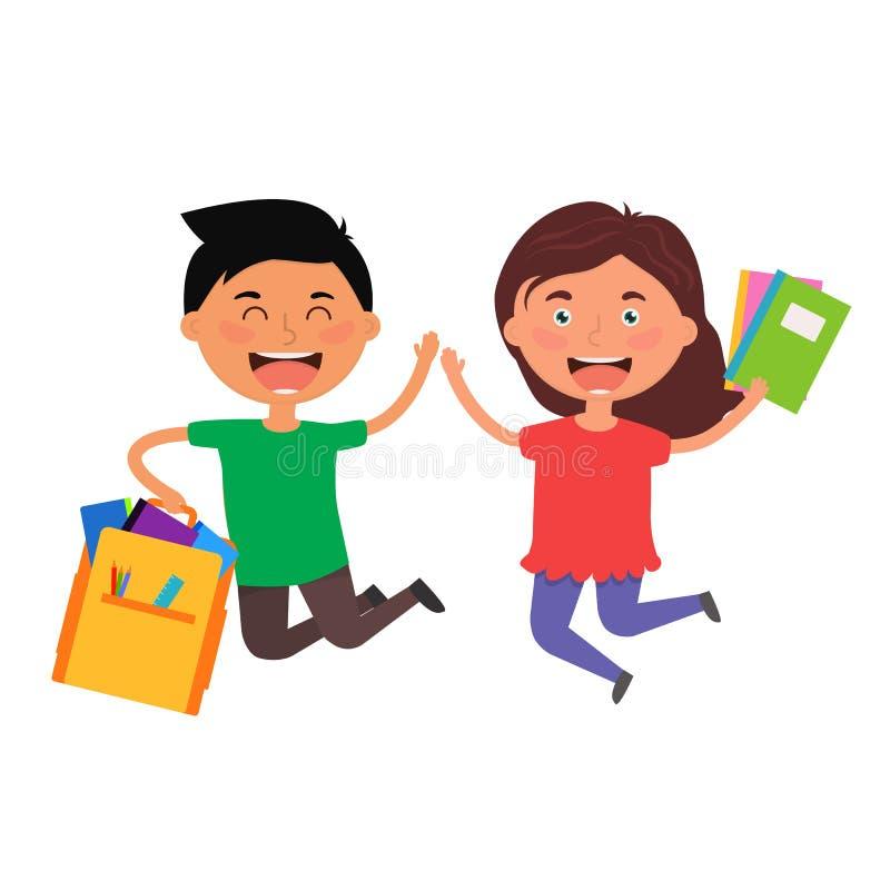 Joyeux sauter avec des fournitures scolaires Les garçons et les filles s'amusent après avoir acheté des sacs à dos, des cahiers,  illustration stock