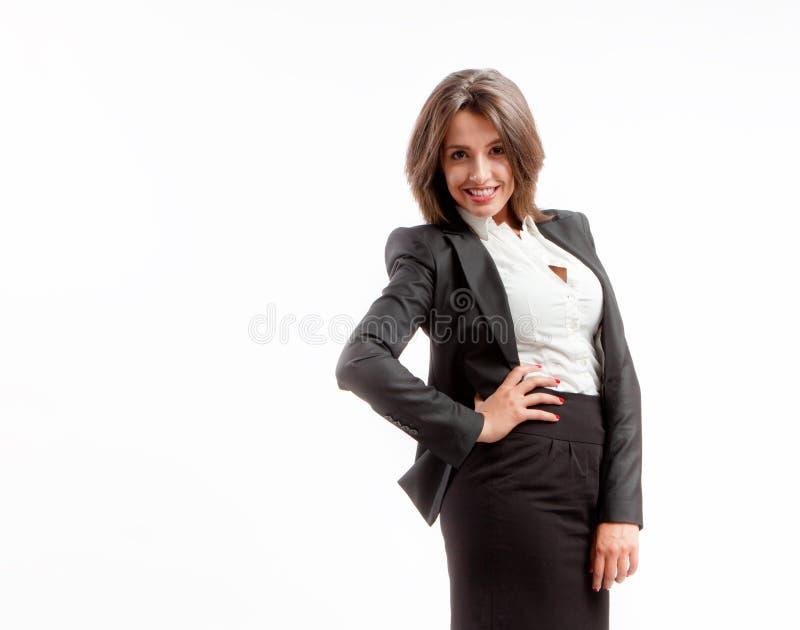Joyful affärskvinna royaltyfria bilder