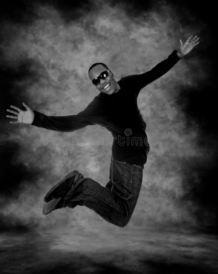 Download Joyful African American Male Mid Air Stock Photo - Image: 6214604