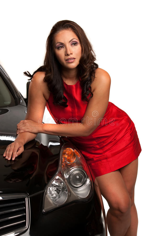 Download Joyful Asian Female Standing By The Car Stock Photo - Image: 21051108