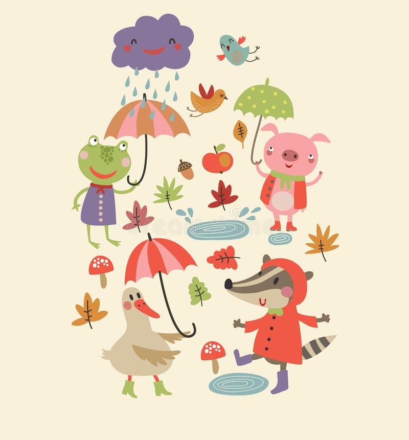 Joyful autumn Cute autumn background. Characters royalty free illustration