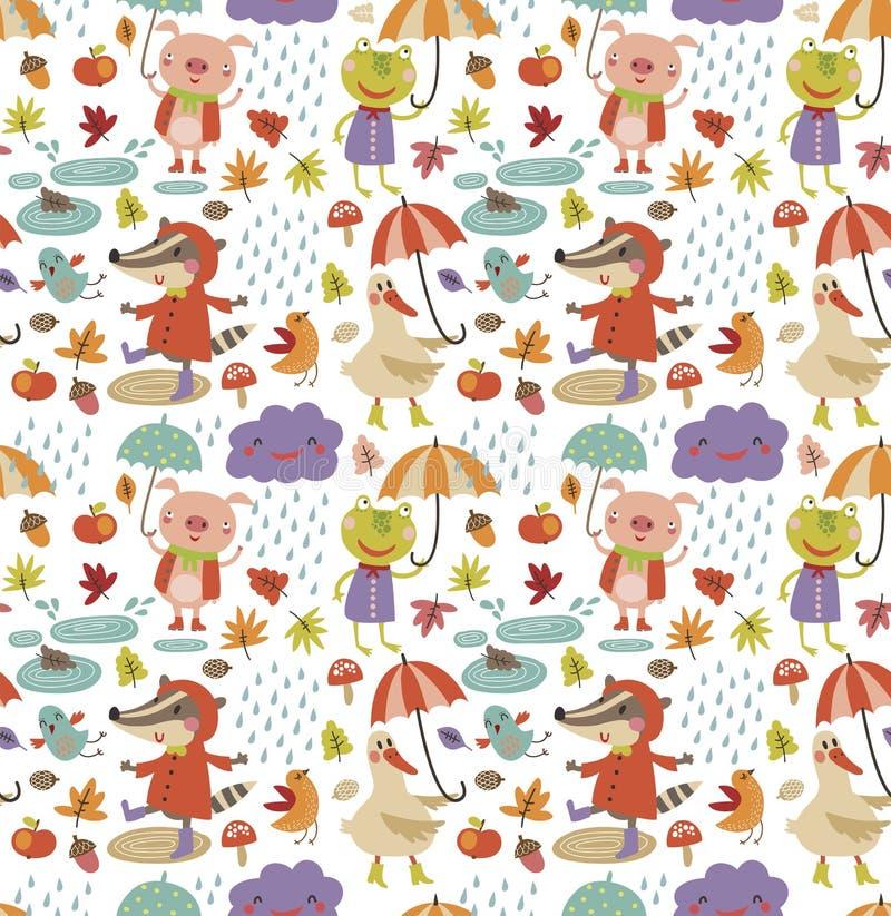 Joyful autumn seamless pattern with cute animal royalty free illustration
