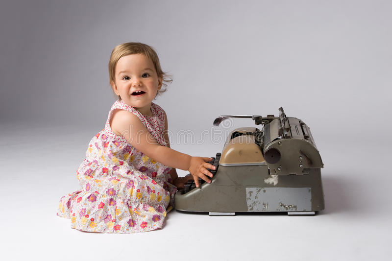 Download Joyful Baby Girl And Her Toy Stock Image - Image of baby, antique: 10268447