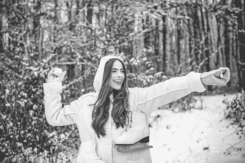 Joyful Beauty young woman Having Fun in Winter Park. royalty free stock photography