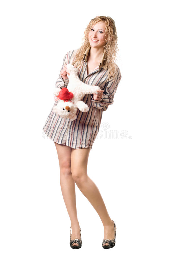 Download Joyful Blonde Holding Teddy Bear Stock Image - Image: 29703723