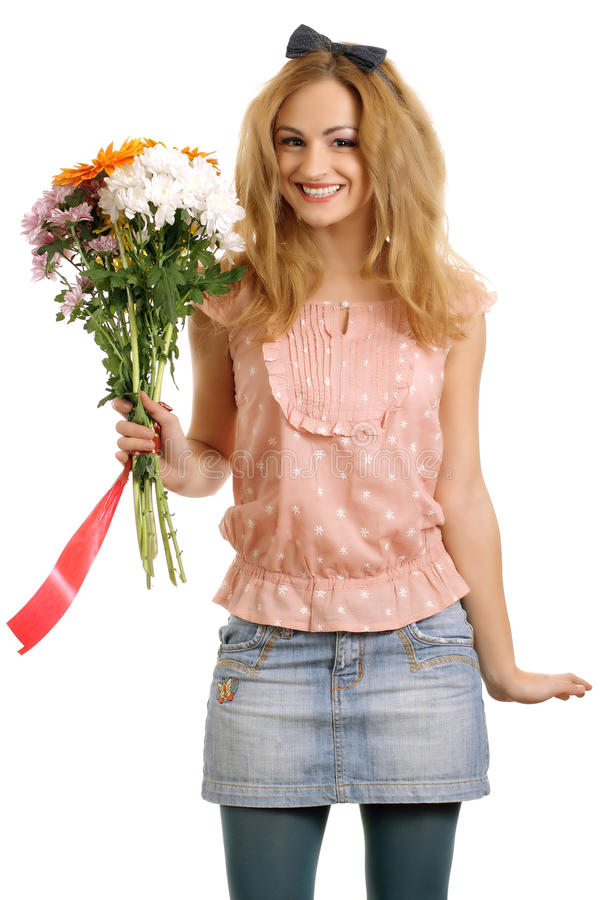Download Joyful Blonde Model With A Bouquet Of Flowers Stock Photo - Image: 18461794