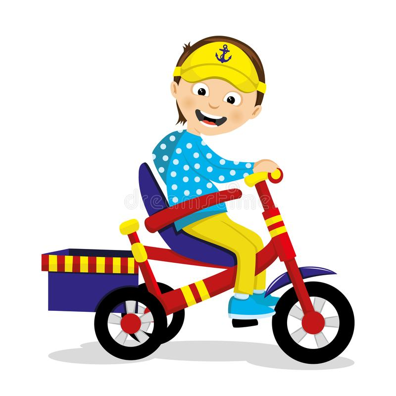 Joyful boy riding a tricycle. stock illustration