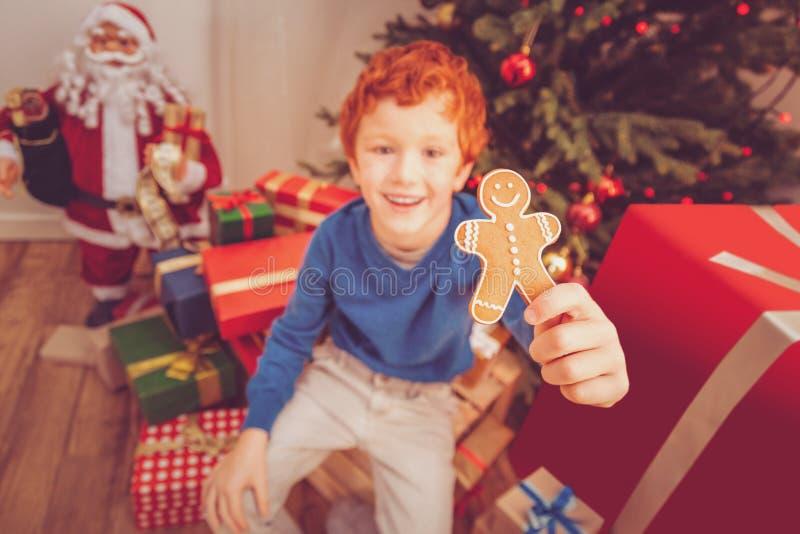Joyful boy showing gingerbread man while sitting near Christmas tree royalty free stock photos