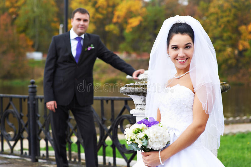 Download Joyful Bride And Groom In Rainy Weather Stock Image - Image: 22779175