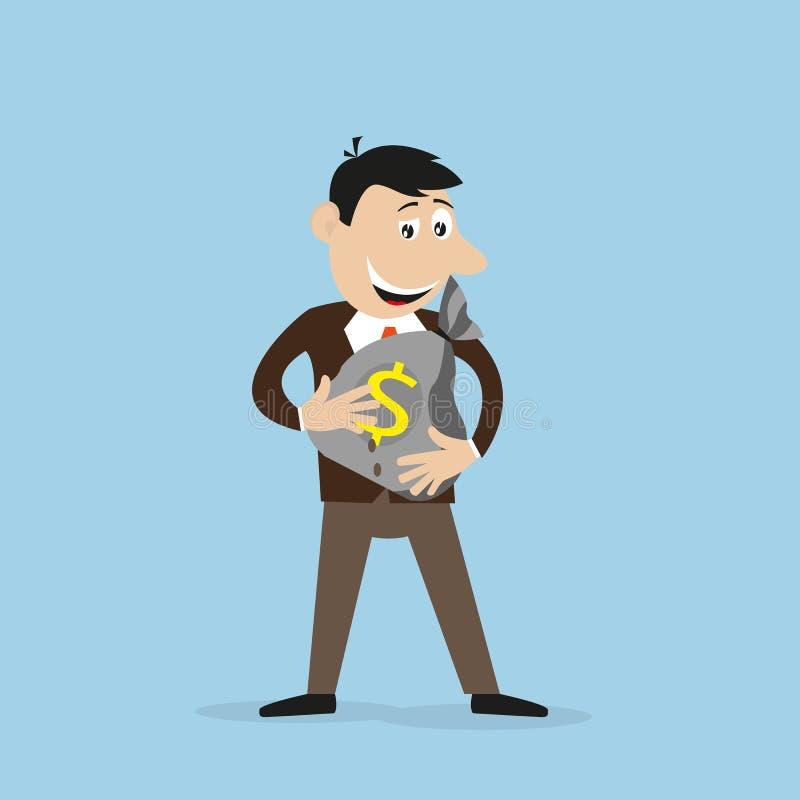 Joyful businessman holding a money bag in his hands stock illustration