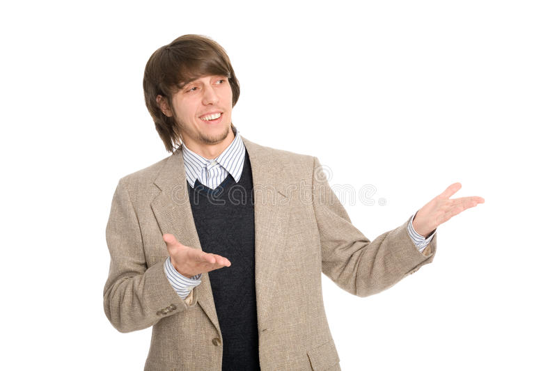Download Joyful Businessman Pointing Hands Stock Photo - Image: 24497216