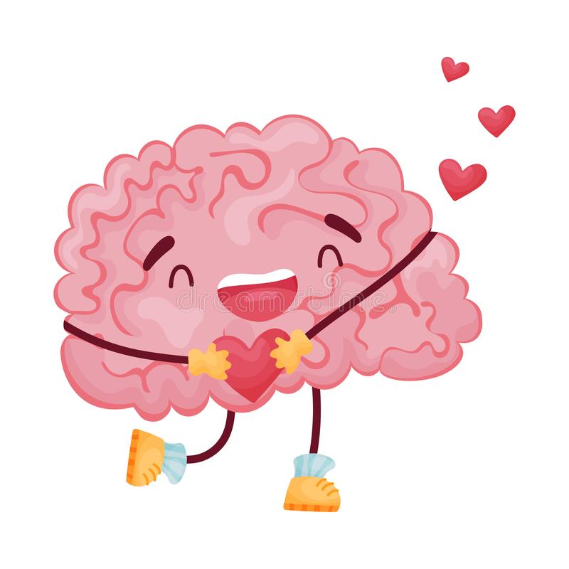 Joyful cartoon brain with a heart in his hands. Vector illustration on white background. vector illustration