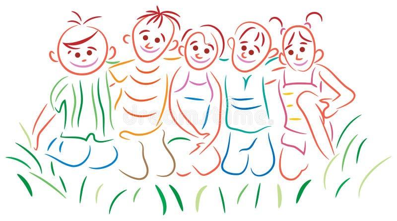 Joyful children. On green grass vector illustration