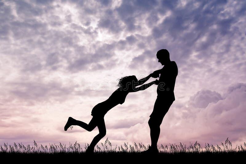 Joyful couple at sunset. Illustration of joyful couple at sunset royalty free illustration