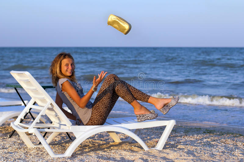 Download Joyful cute teenage girl stock image. Image of blue, coast - 33769611
