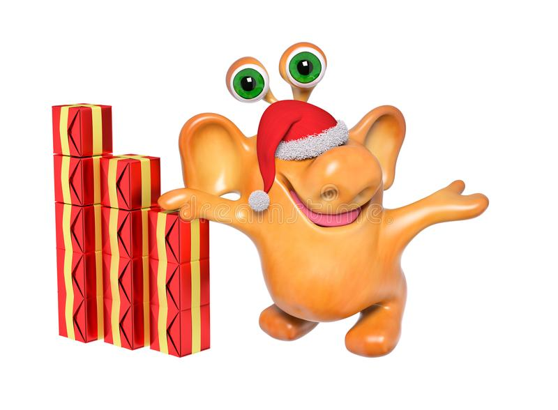 Joyful 3d fantasy cartoon monster in santa hat with gift. Christmas, showing or pointing something with hands isolated rendering stock illustration