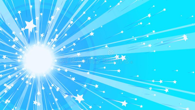 Sparkling Sun in the Celeste Background. A joyful 3d illustration of a sparkling sun with wide and narrow rays gleaming around and five pointed stars at their stock illustration