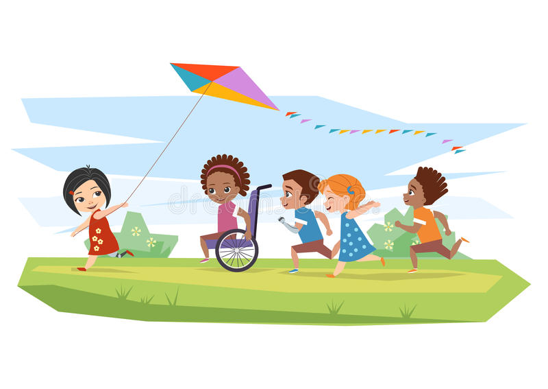 Joyful disabled children and healthy run and run kite outdoors stock illustration