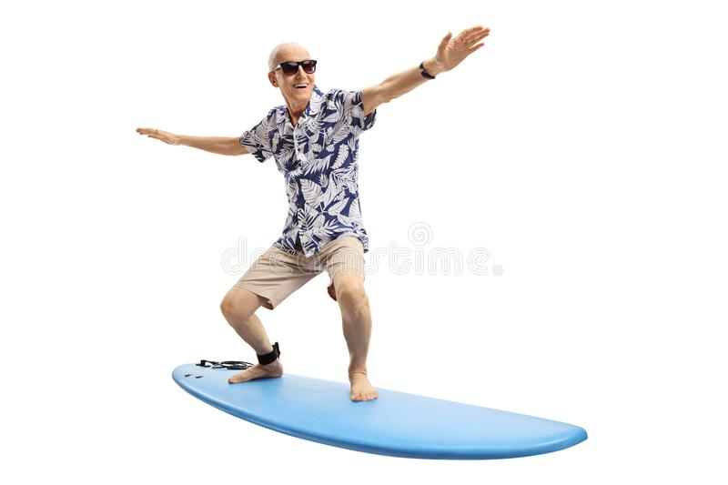 Download Joyful elderly man surfing stock image. Image of single - 104533861