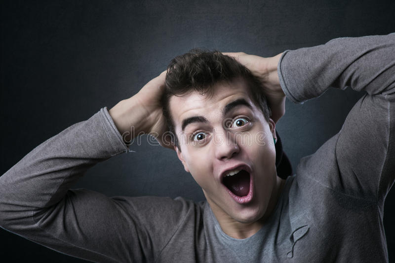Joyful excited you man royalty free stock images