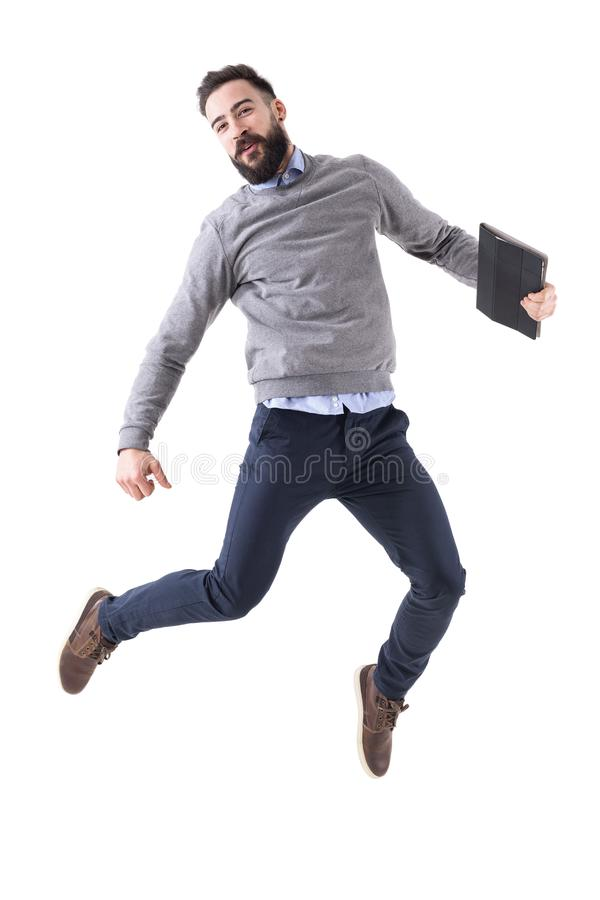 Joyful excited young businessman celebrating success and jumping stock photos
