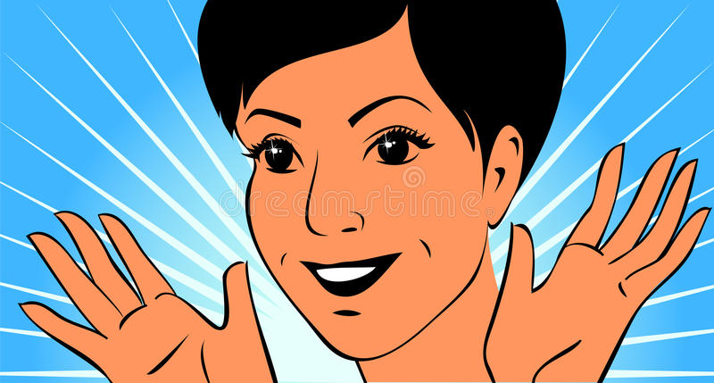 Joyful face of young woman with her hands. Portrait young woman are waving hands for joy. She has short hair, nice eyes and wide smile. Portrait made as simply vector illustration